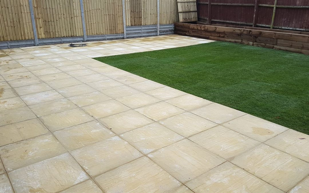 Patio with planter and new lawn Ryton